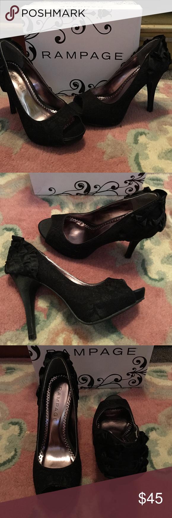 Rampage heels Brand new in box. 4 1/2 inch heel peep toe, ruffles on back of the heels Rampage Shoes Heels
