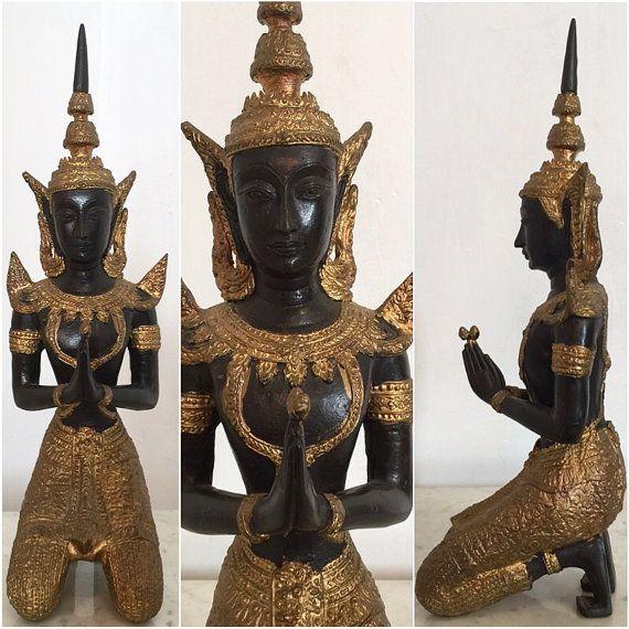 Antique Bronze Thai Teppanom Angel Gold Gilt, Thepanom