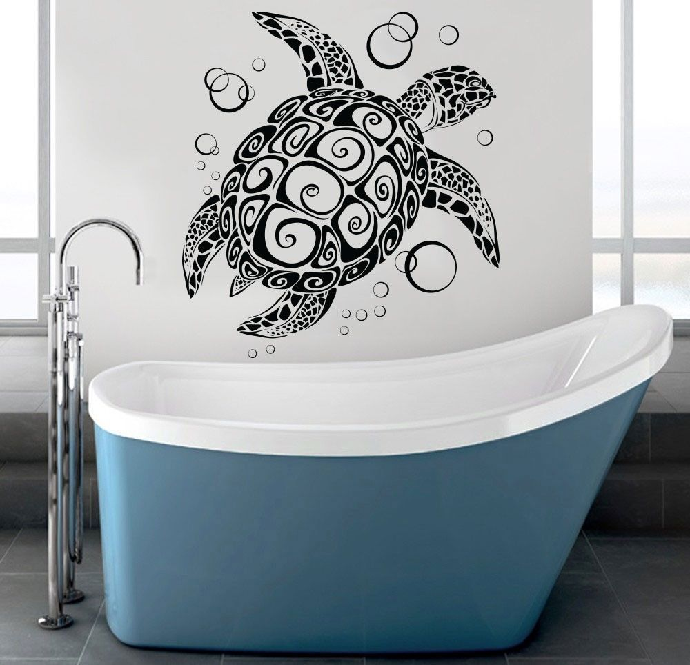 sea turtle wall decal under the sea ocean animals wall art sticker vinyl decor nursery. Black Bedroom Furniture Sets. Home Design Ideas