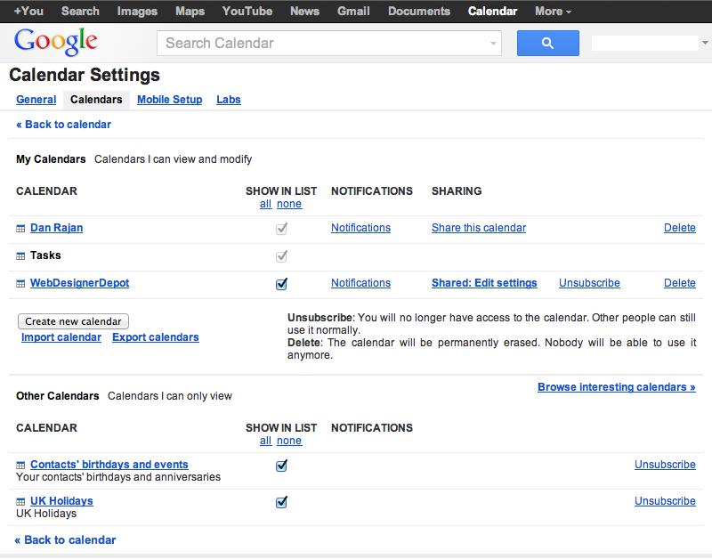 Google Calendar CSS integration.
