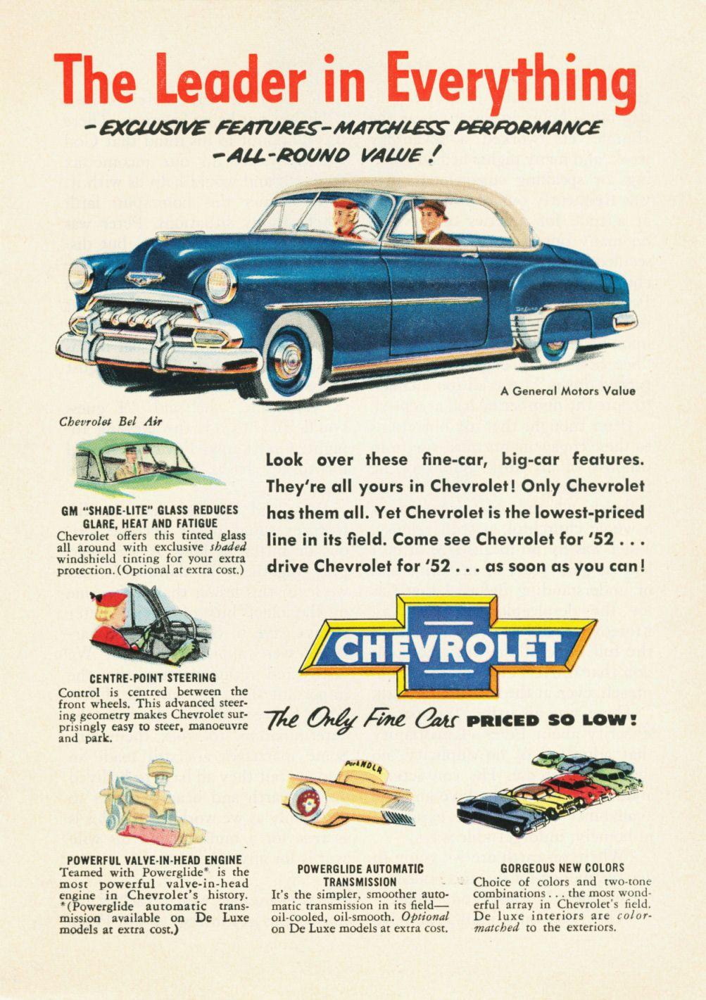 1952 Chevrolet Styleline Deluxe Bel Air Automobile Advertising