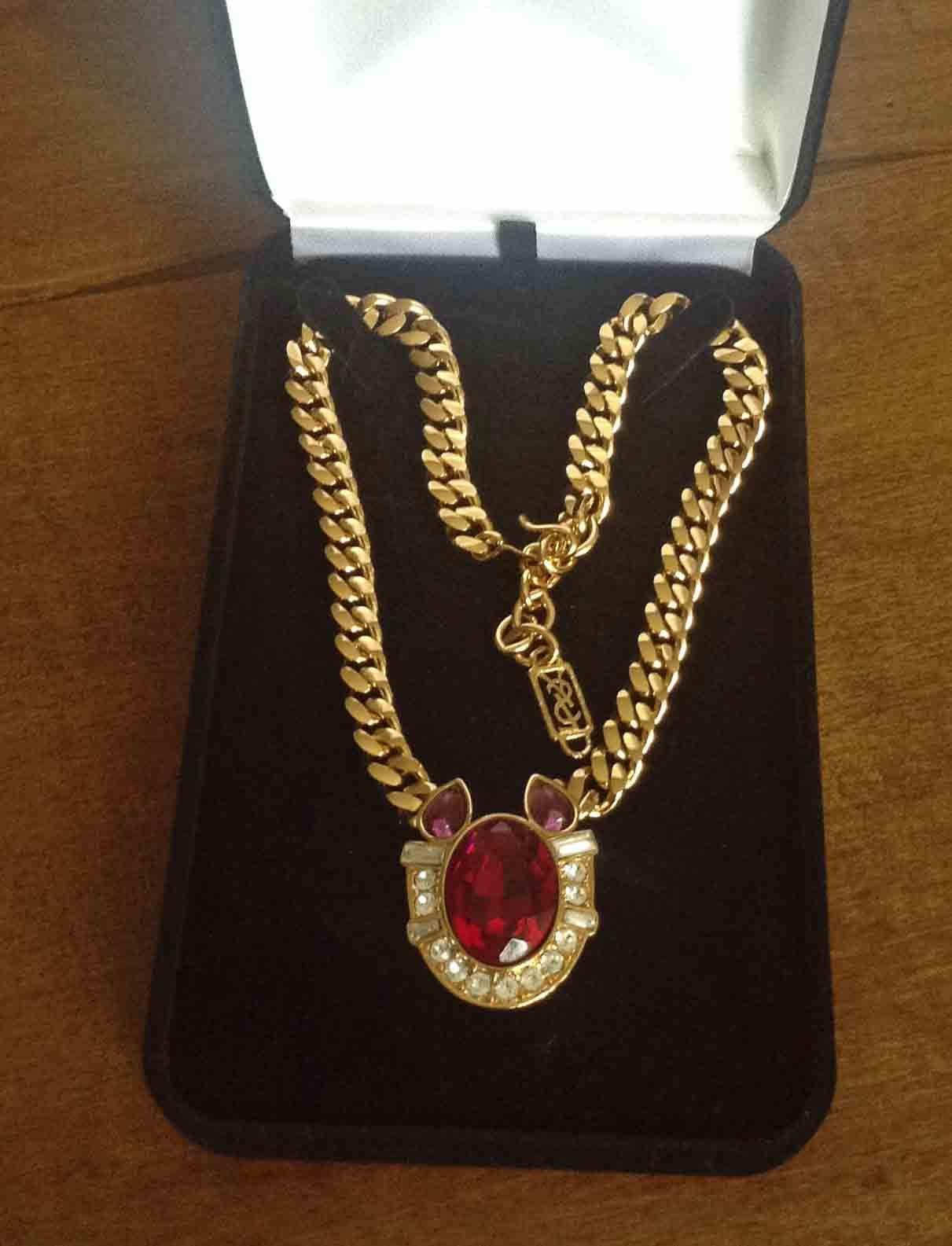 YSL Necklace in velvet box YSL faux Ruby Amethyst Rhinestones Gold