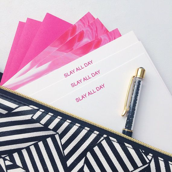 SLAY ALL DAY Stationery Set Marble Notecards-Pink Note Card