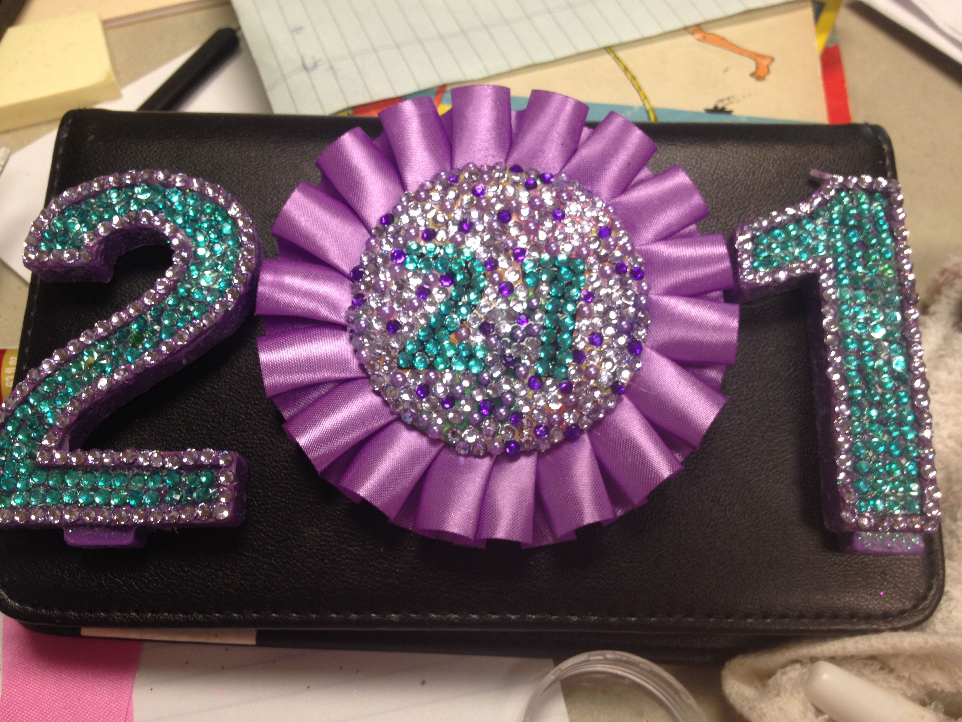 21st Birthday Bling: purple/turquoise bedazzled birthday ...
