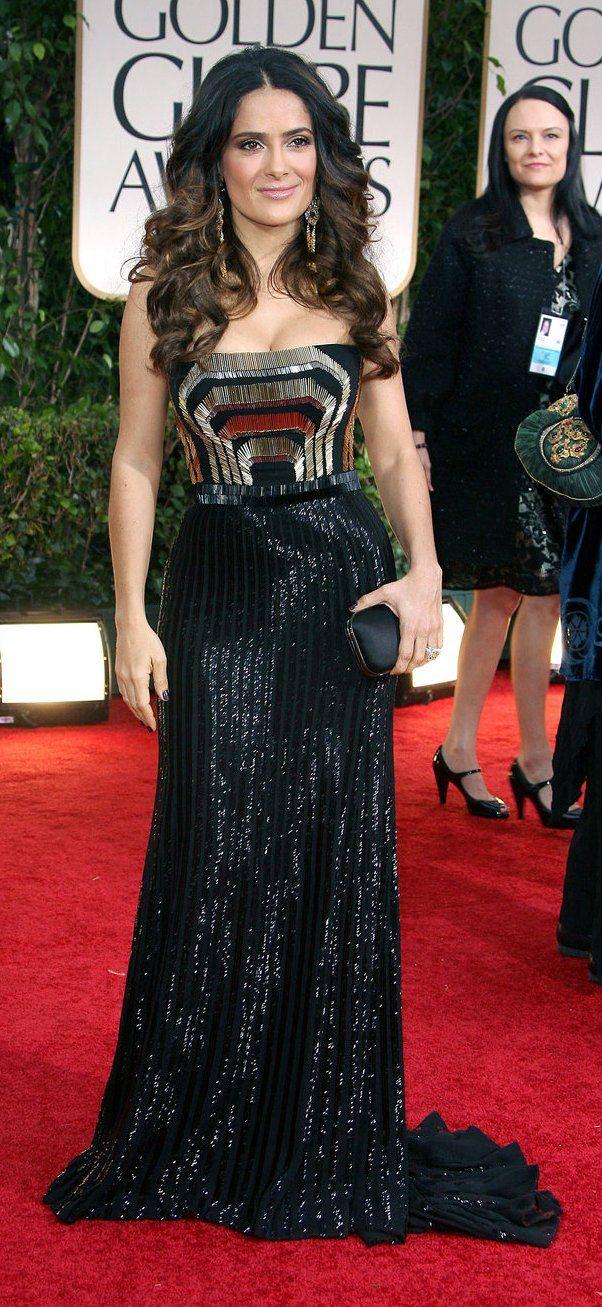 salma hayek gucci gold and bla art deco: salma hayek @ 2012 golden globes