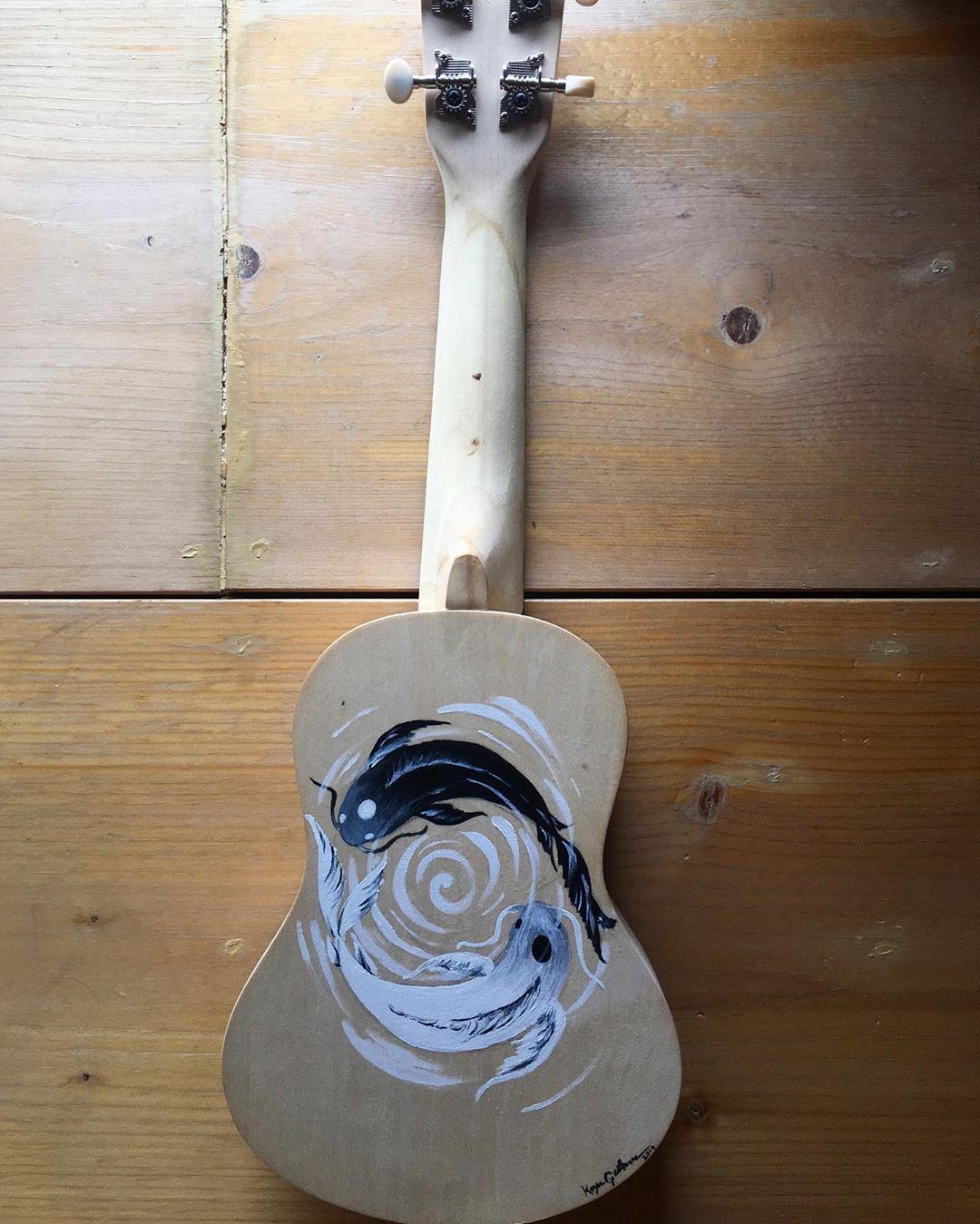 Yin Yang Koi Fish Painted On Plain Wood Ukulele Done For Sammytheginge Semi Gloss Clear Coat Has Yet To Be Done Ukulele Art Fish Painting Ukulele Diy
