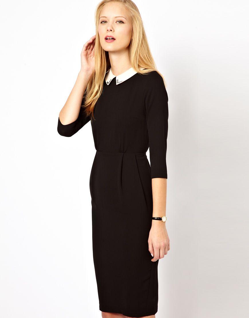 Asos tulip dress with collar detail black dress white collar