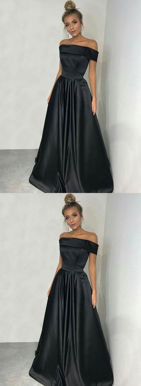 Simple black long prom dressblack off shoulder evening dress
