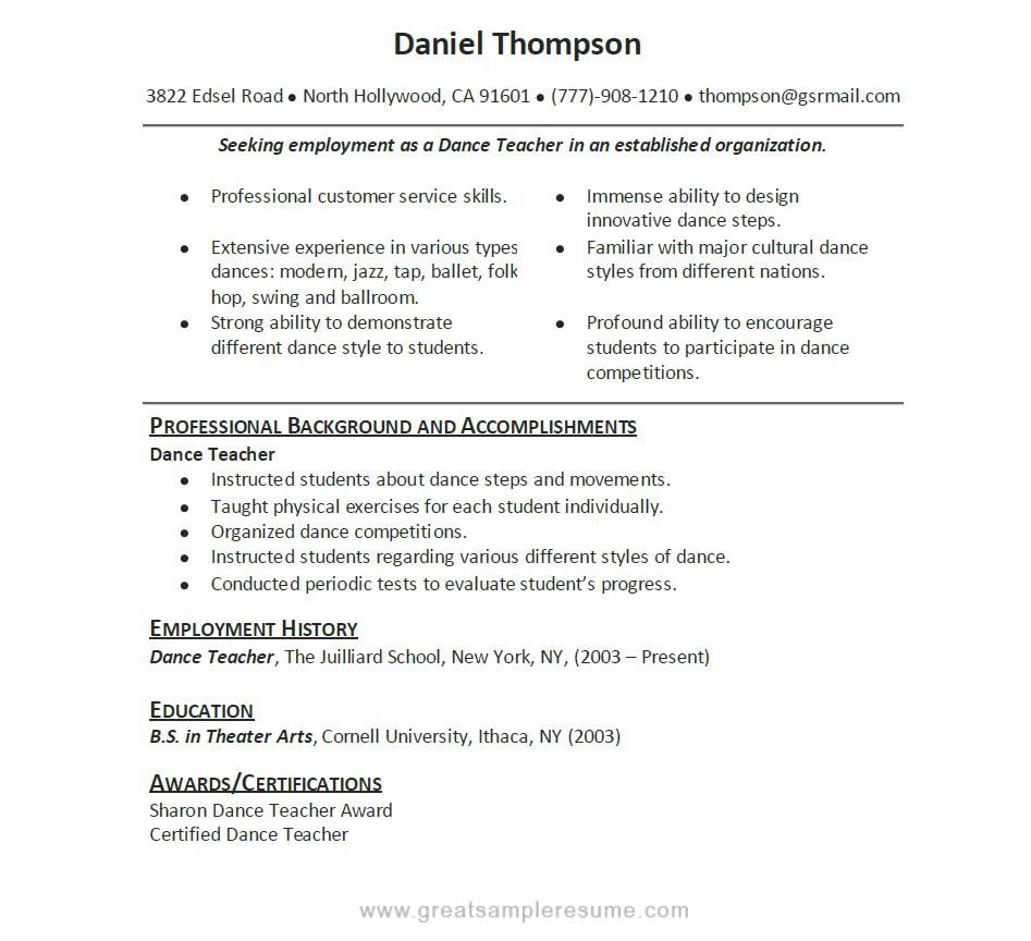 Dance Resume Example Dance Resume Can Be Used For Both Novice And  Professional Dancer Resume Template Great Pictures
