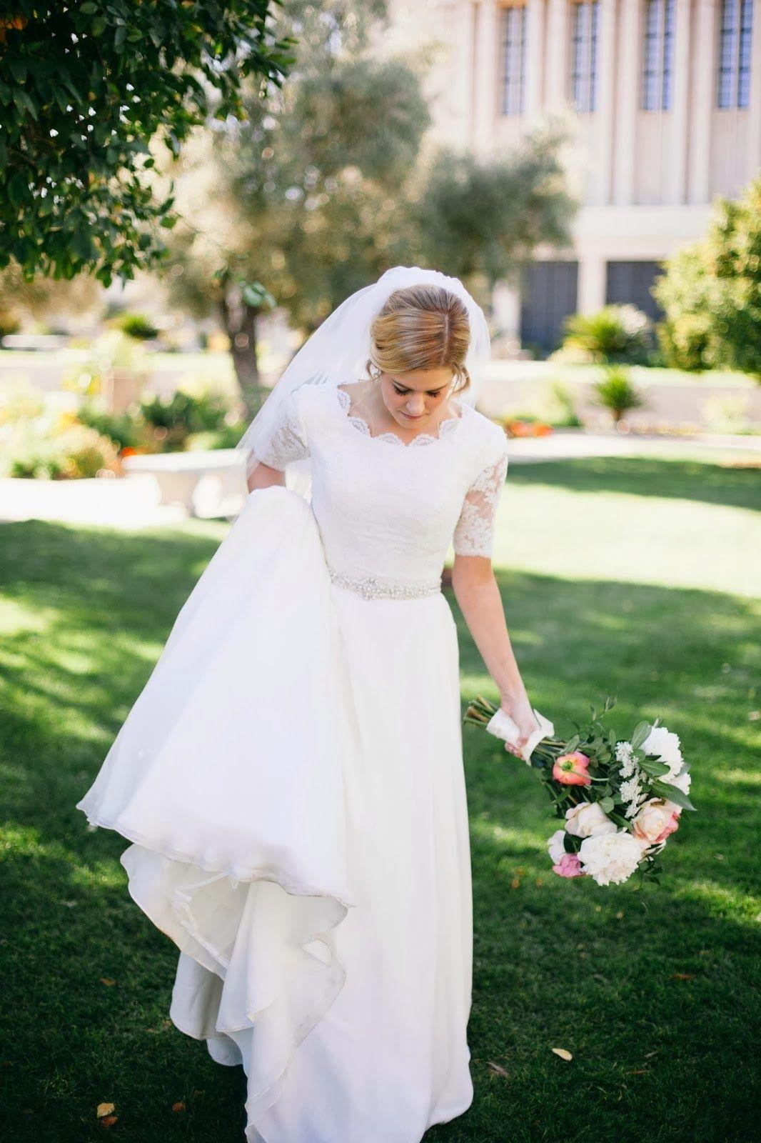 Wedding dress nip slip  The Discriminating Bride Our Bride Brimley  modest wedding dresses