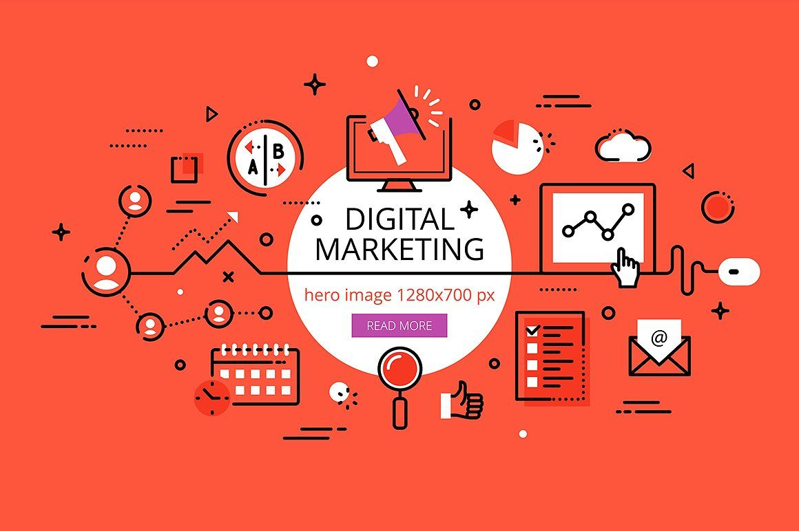 Digital Marketing hero banners | Digital marketing design ...