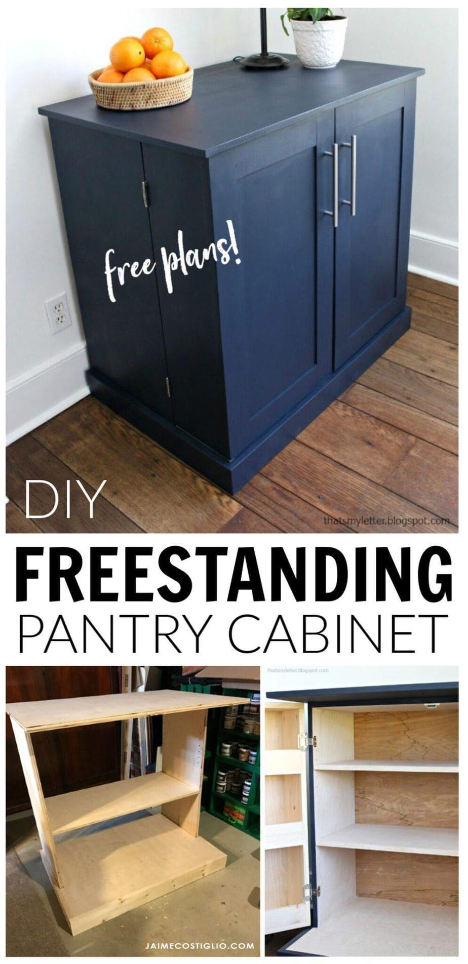 DIY Freestanding Kitchen Pantry Cabinet - Jaime Costiglio #kitchenpantrycabinets
