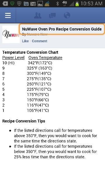 NUWAVE Temperature Conversion Chart New wave oven Pinterest - time conversion chart
