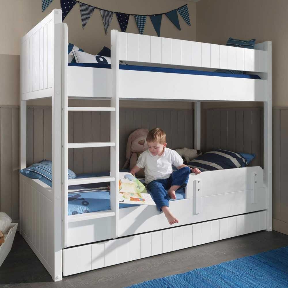 Kinder Stockbett kinder etagenbett in weiß mit absturzsicherung jetzt bestellen unter