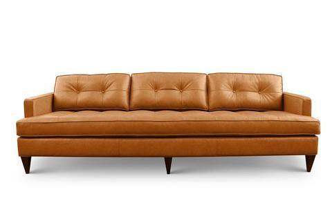 Rodney Custom Affordable Mid Century Modern Leather Sofa From Clad Home Mid Century Modern Leather Sofa Modern Leather Sofa Leather Sofa Bed
