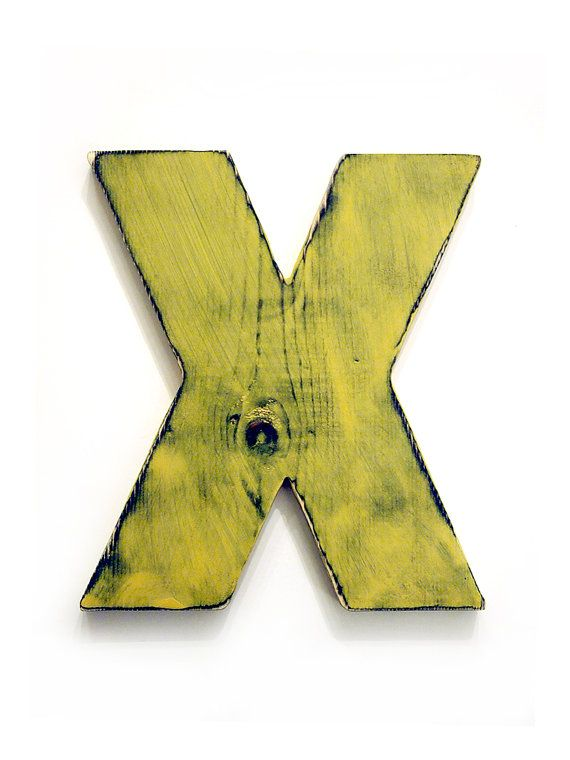 Capital Letter X Pictured in Mustard Pine Wood Sign by ThePineNuts ...