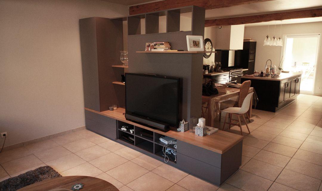meuble tv rangement separation salle a manger chene melamine gris 1