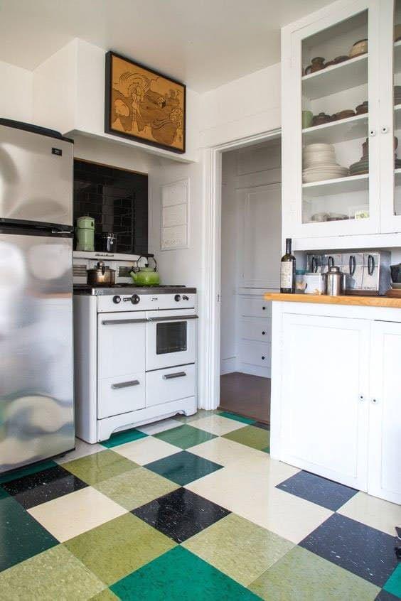 vinyl linoleum tiles can actually look good really flooring ideas kitchen floors and 1940s decor
