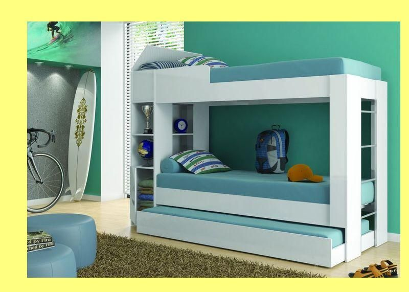 Our Imported Flat Pack Desinger High Gloss Double Bunk Bed Below With Underdrawer Bed And Lots Of Shelfs Mattress Size 188 X 76cm Now R3500 Save Ove Bunk Beds
