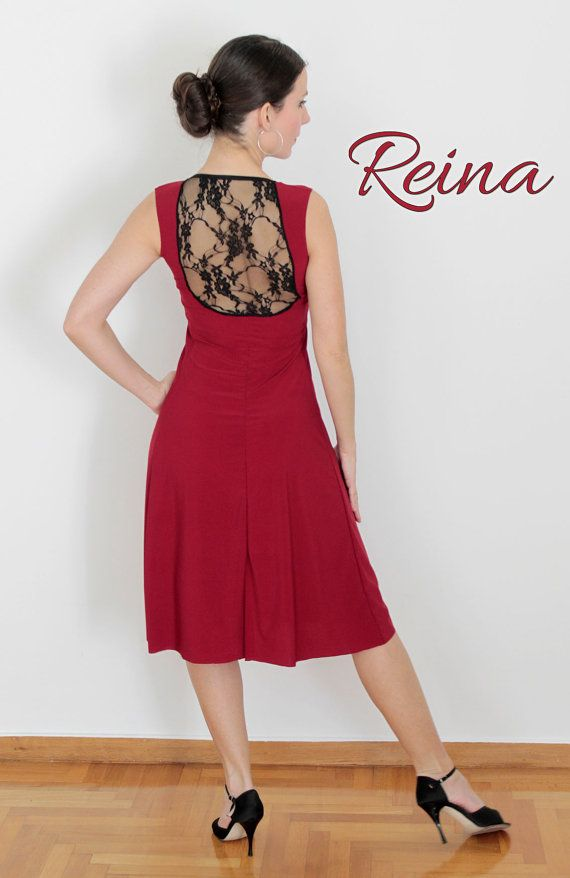 f6abe2bb58e27 Red dress wih black lace on the back and an opening at the bottom. Very  elegant and comfortable for dancing. It can also be made in black on order.