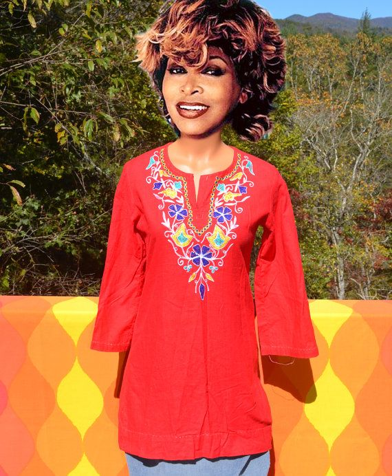46e89fd6 vintage 70s indian KURTI shirt women's long hippie embroidered india ethnic  native boho tunic festiv