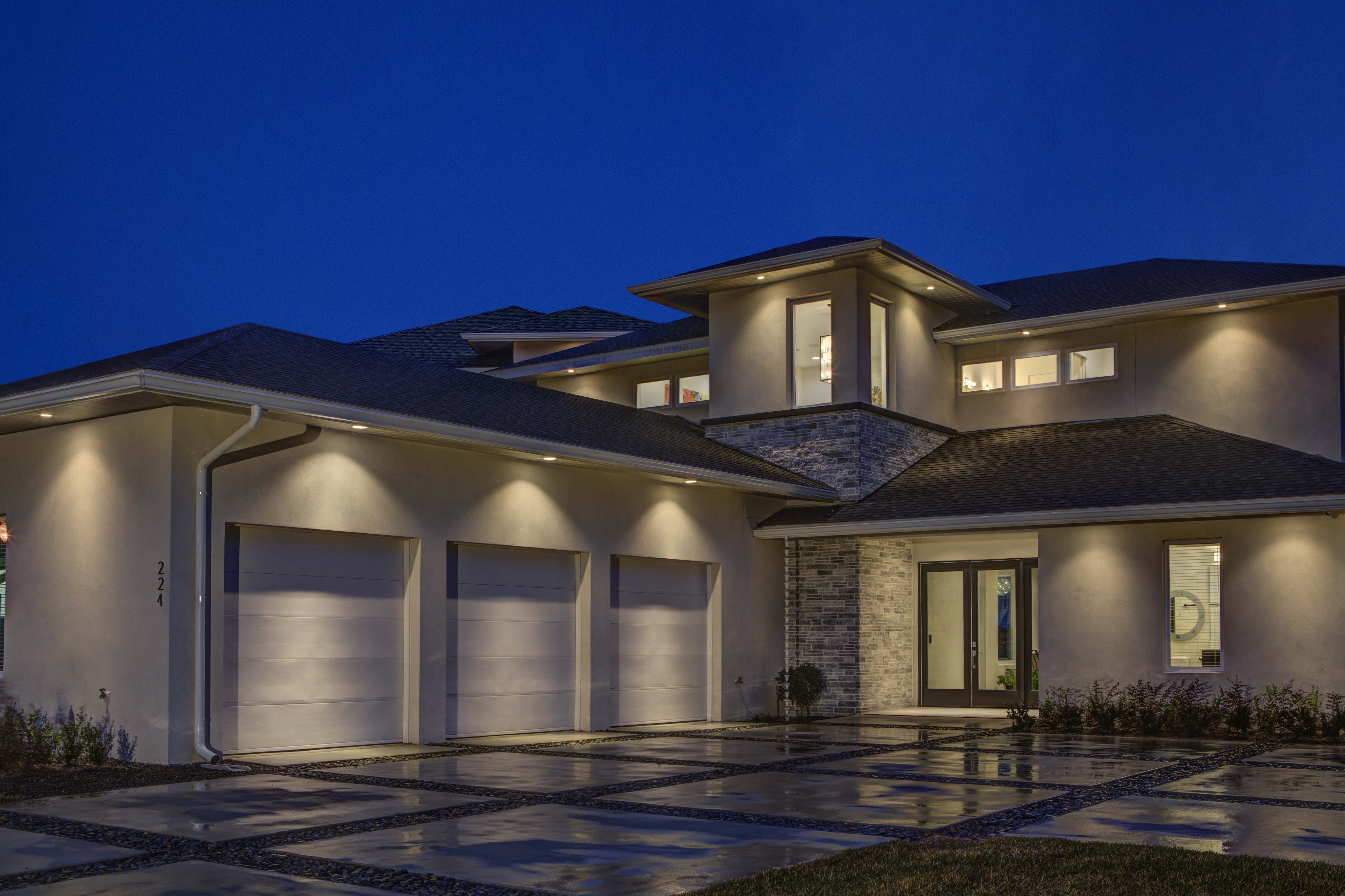 Dwelling U By Waycool Homes A Side Entry Three Car Garage Is Attached To The Front Of The House Which Garage House Plans Garage House Craftsman House Plans