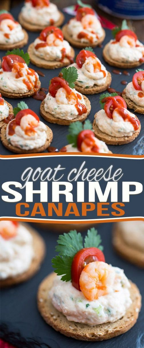 Goat Cheese Shrimp Dip and Canapés