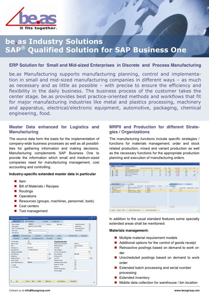 Be As Manufacturing For Sap Business One Extends Sap Business One To Support Manufacturing Planning Control And Implementation In S Business Sap Manufacturing