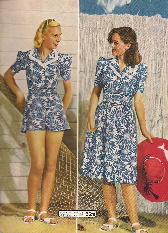 1940s Fashions In Red White Blue With Images: 1940s Fashion Blue White Floral Print Playsuit Shorts