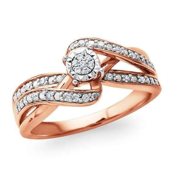 Zales 1/10 CT. T.w. Composite Diamond Hearts Bypass Ring in Sterling Silver with 14K Rose Gold Plate PDEWb9G