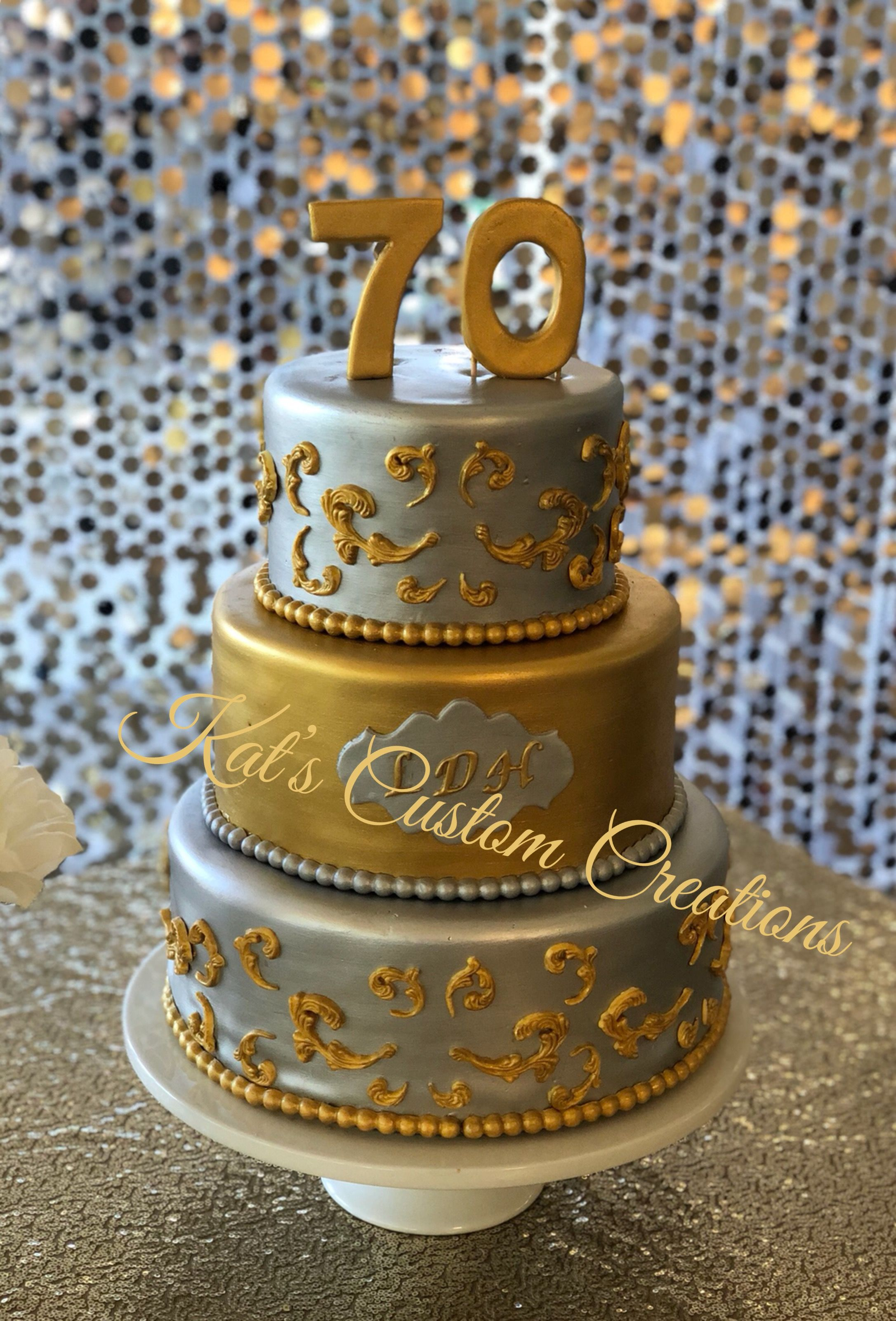 Cool Silver And Gold 70Th Birthday Cake With Images Cake 60Th Funny Birthday Cards Online Overcheapnameinfo