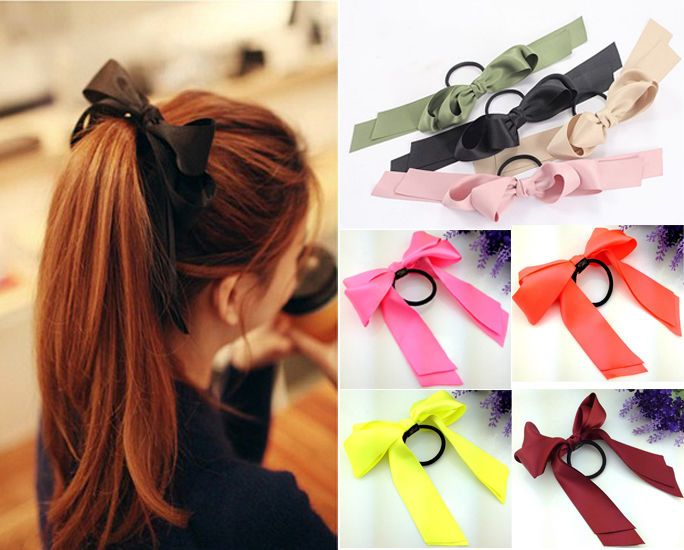 Details about Cute Women Multicolor Satin Ribbon Bow Hair Band Rope Scrunchie Ponytail Holder ...