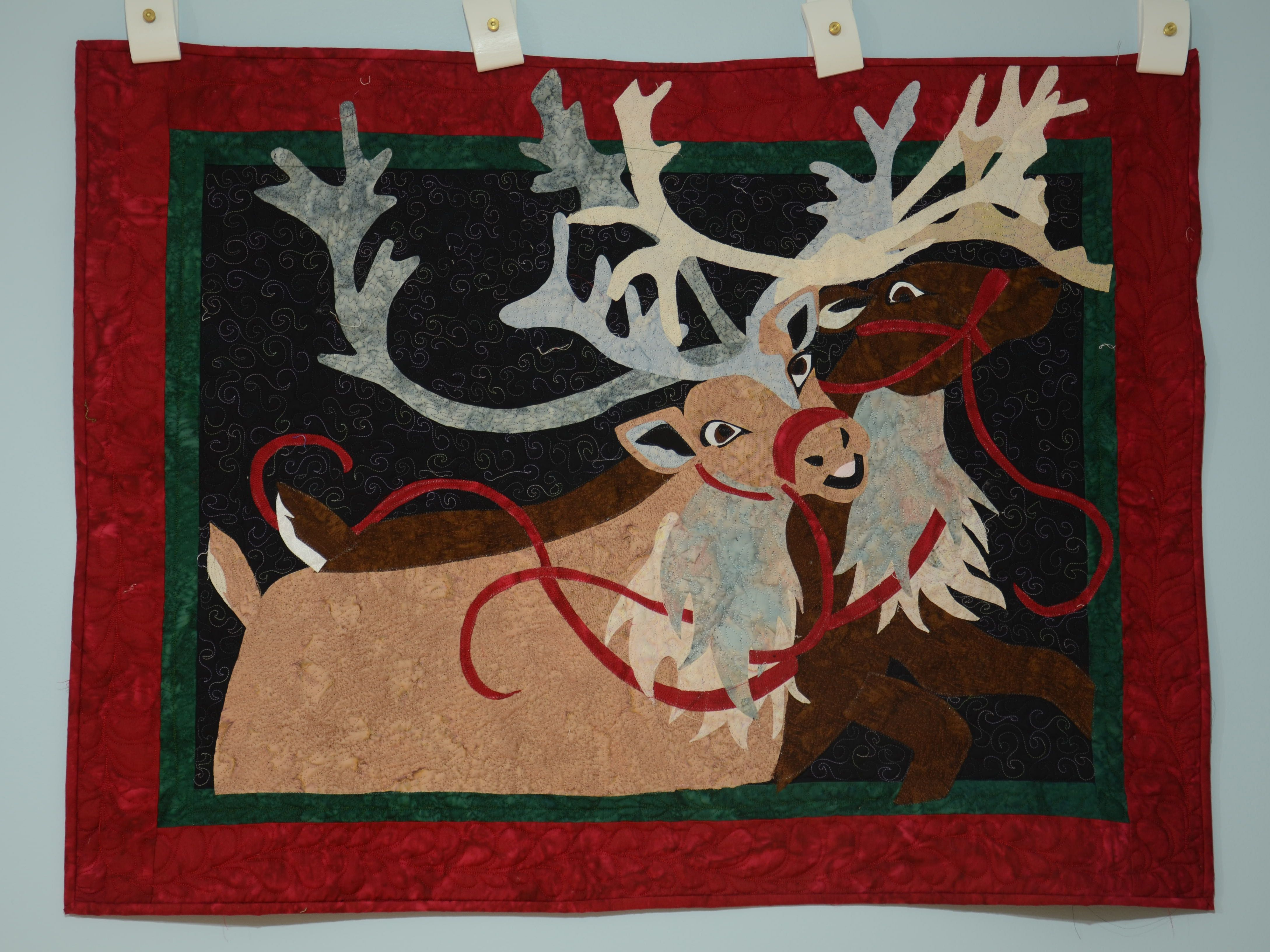 RAINDEER Christmas wall quilt applique and pieced-by Seams Like Home//Joan Jones