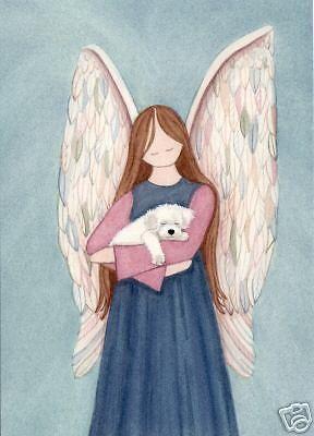 Bichon Frise cradled by angel / Lynch signed folk art print #folkart