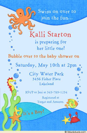 Under The Sea Baby Shower Invitation Wording | Ocean Baby Shower Invitation  Under Sea Octopus