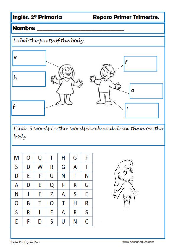 Ejercicios de inglés para segundo de primaria | ingles | English ...
