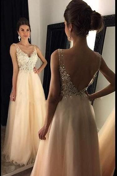 Sexy V-neck Long Prom Dress, 2017 Peach Long