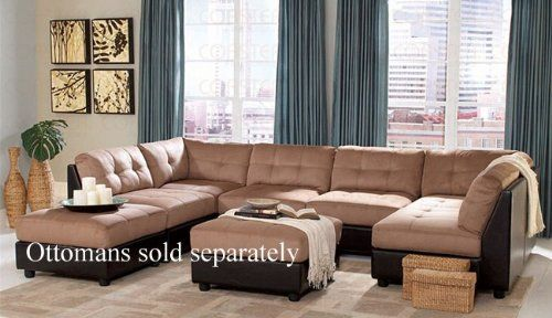 Room sectional sofa with button tufted design brown microfiber also living