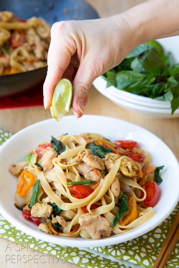 """Thai Drunken Noodles Recipe - -   However, Drunken Noodles are a tasty example of asian """"fusion food"""" in its truest form. This dish became popular in Thailand, after Chinese immigrants crossed the borders in surrounding countries and started selling the common street-food dish, Phat Si Ew, made with wide noodles.   http://www.aspicyperspective.com/2014/01/drunken-noodles-pad-kee-mao.html"""