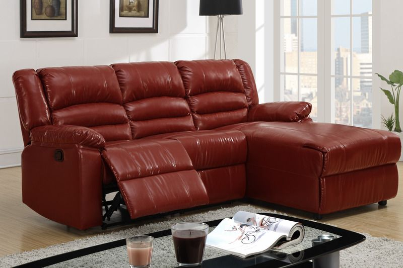 Small Burgundy Leather Reclining Sectional Sofa Recliner ...