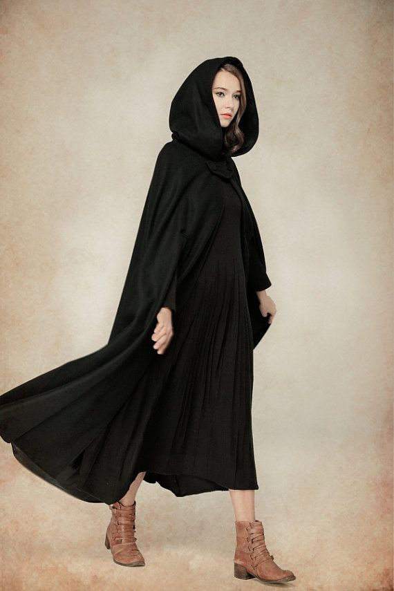 Flare Wool Coat Jacket, Black Hooded Cloak, Winter Cape, Black ...