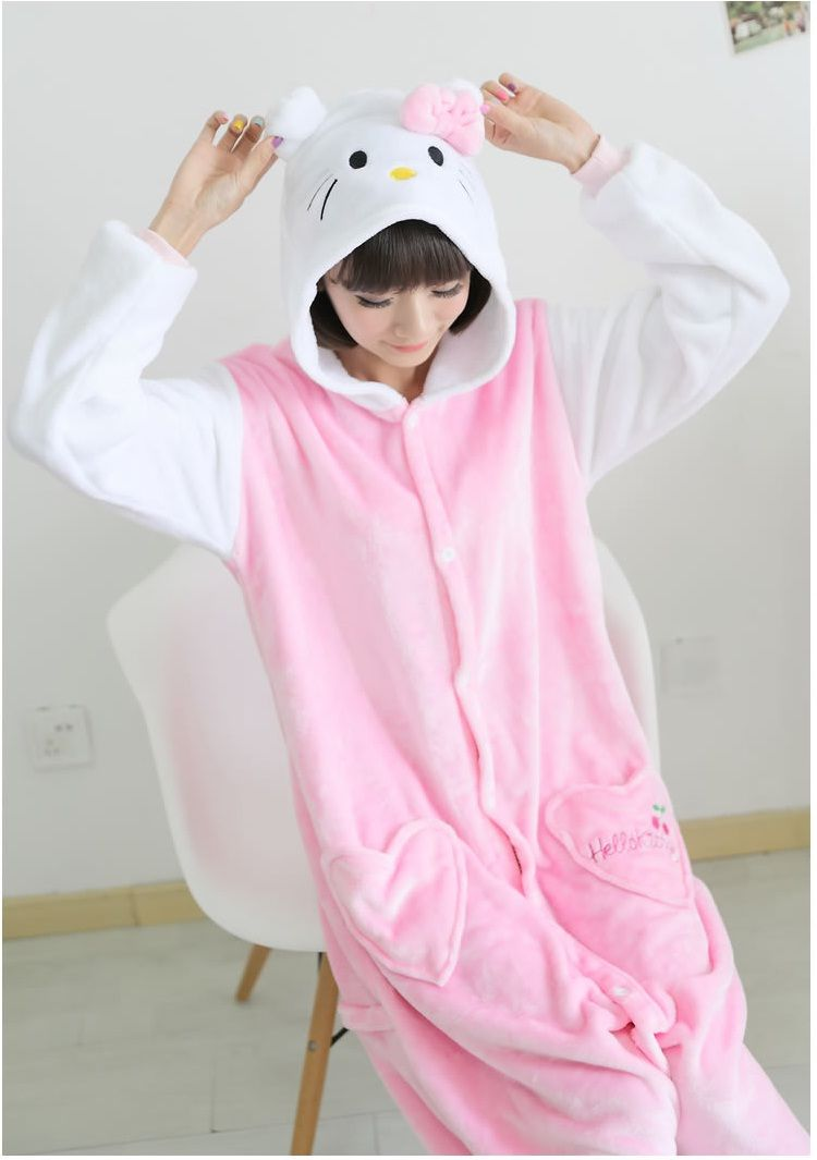 8f9f4e9cc5 Flannel family animal pajamas one piece onsies onesies cosplay hello kitty  onesie bonjour kitty pijamas enteros de animales