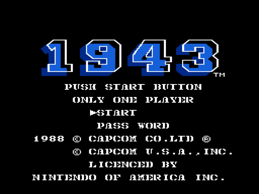 1943 - The Battle of Midway Nes Rom Start Screen | Nes Game