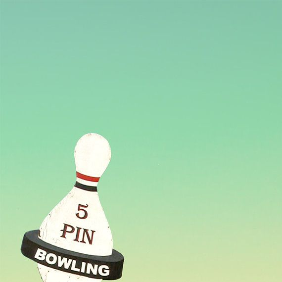 30 OFF Bowling alley vintage sign photo bowling pin by bomobob