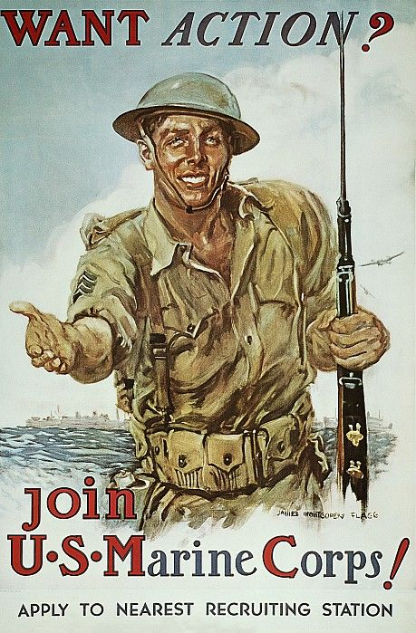 Wwii Recruiting Poster Greeting Card For Sale By Granger In 2020 Marine Corps Wwii Posters Us Marine Corps