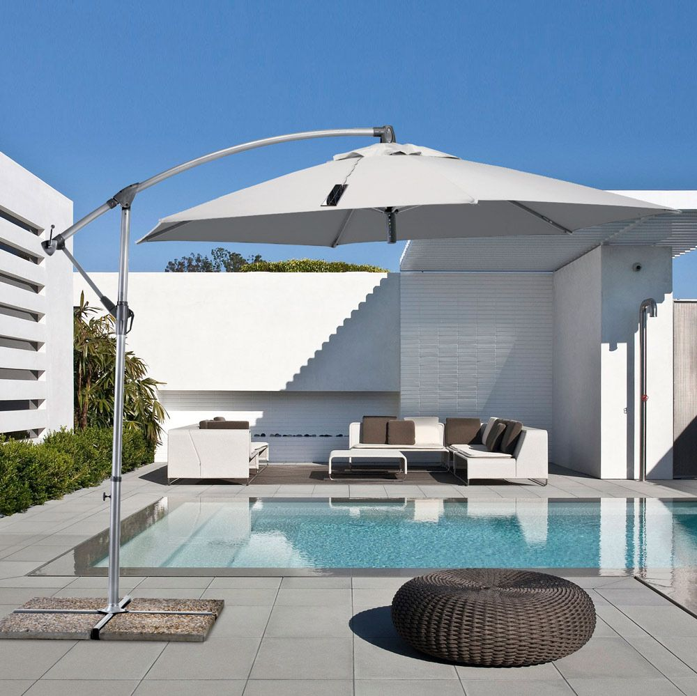 Hexagonal 3x3 Cantilever Garden Parasol With Usb Solar Charger Power Modern House Design Contemporary House House Design