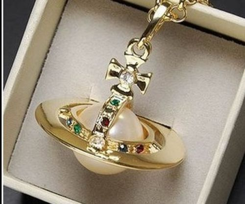 Fashion VW jewelry Gold color large stereoscopic pearl Saturn necklace