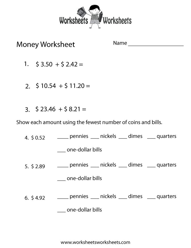 small resolution of Adding Money Worksheet - Free Printable Educational Worksheet   Money  worksheets
