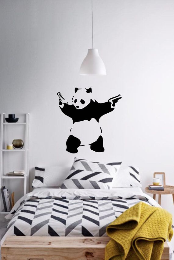 wall art panda with two gunsbanksy vinyl wall decal alternative