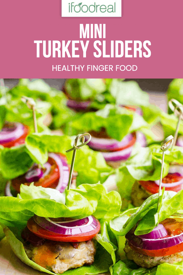 Healthy Turkey Sliders are fast, juicy and flavourful. With a bit of bacon, cheese and traditional fixings, everyone will love wrapped in lettuce mini burgers.